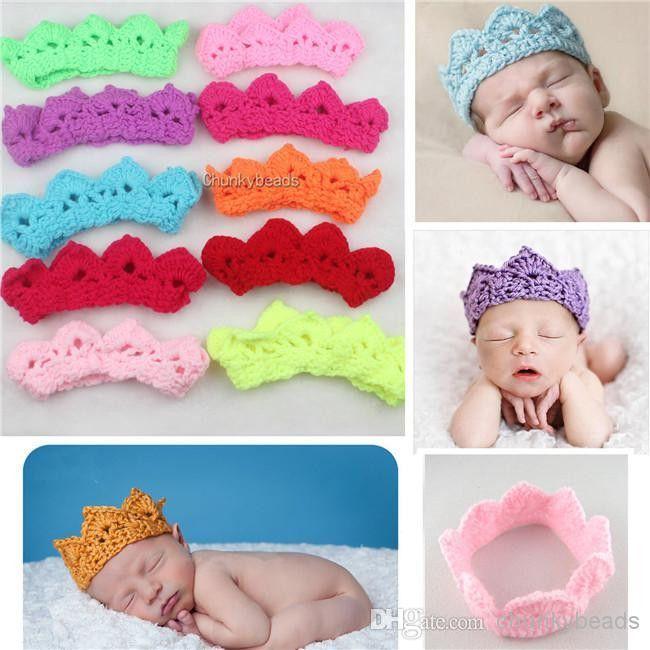 Newborn Crochet Baby Crown Headbands  3ec244626c6f