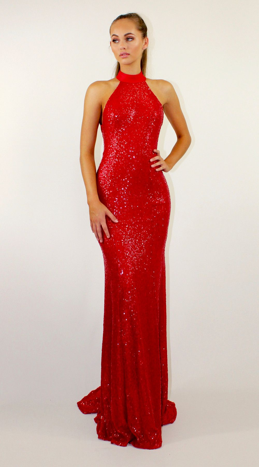 9924f260f39 STUDIO MINC Chloe in Red fitted fishtail and backless sequin formal dress