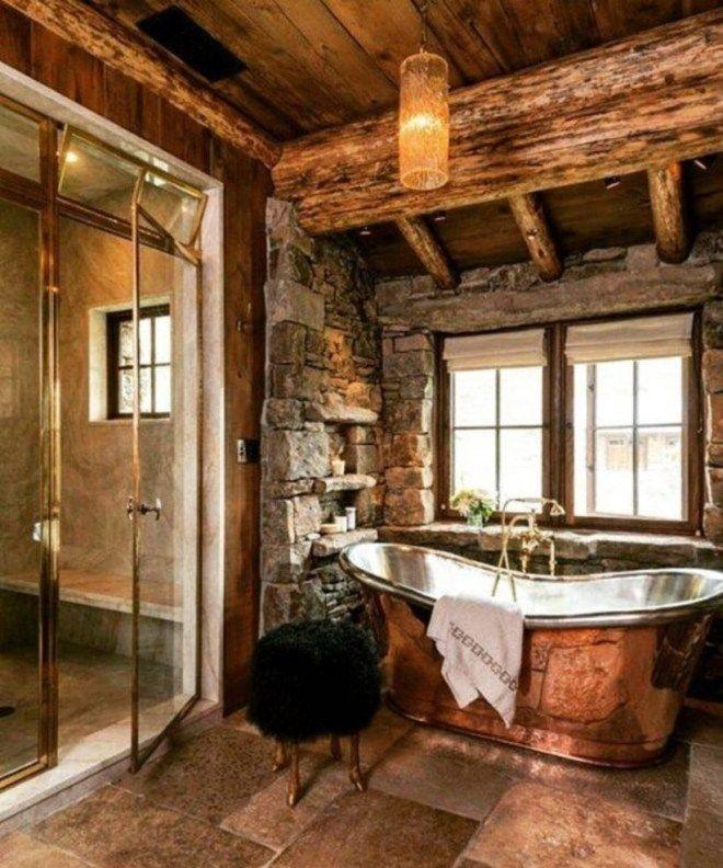 48 Stylish Bathroom Designs Ideas With Addition Of Stone For Elegant Look #rusticbathroomdesigns