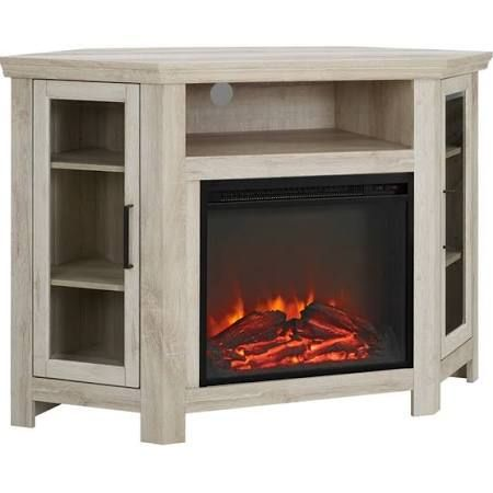 48 Wood Corner Fireplace Media Tv Stand Console In White Oak