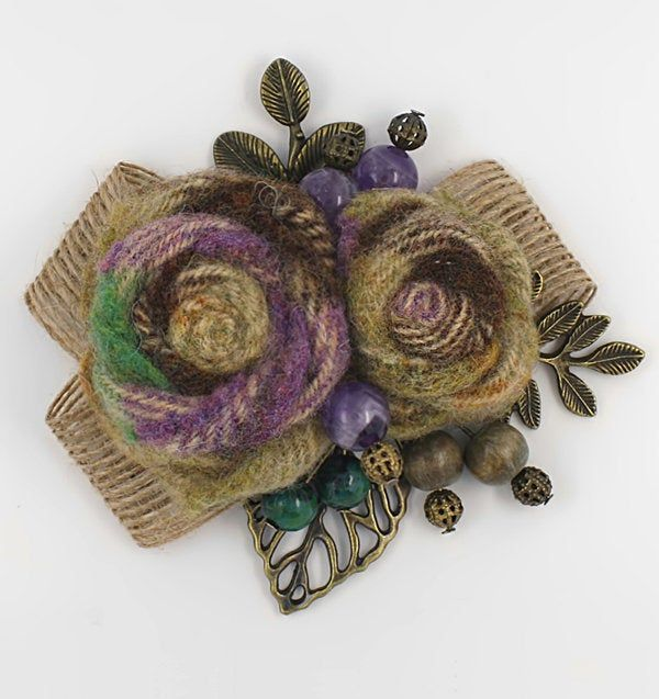 Flower Fabric Wool Brooch - Wool Rose Flower Pin, Floral Brooch, Beads, Vintage Leaves - Handmade Pin Textile Brooch - Gift For Woman #flowerfabric