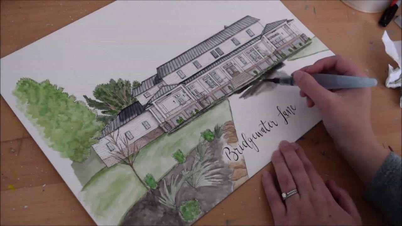 Dream Home Watercolor Painting Timelapse In 2019 Watercolor