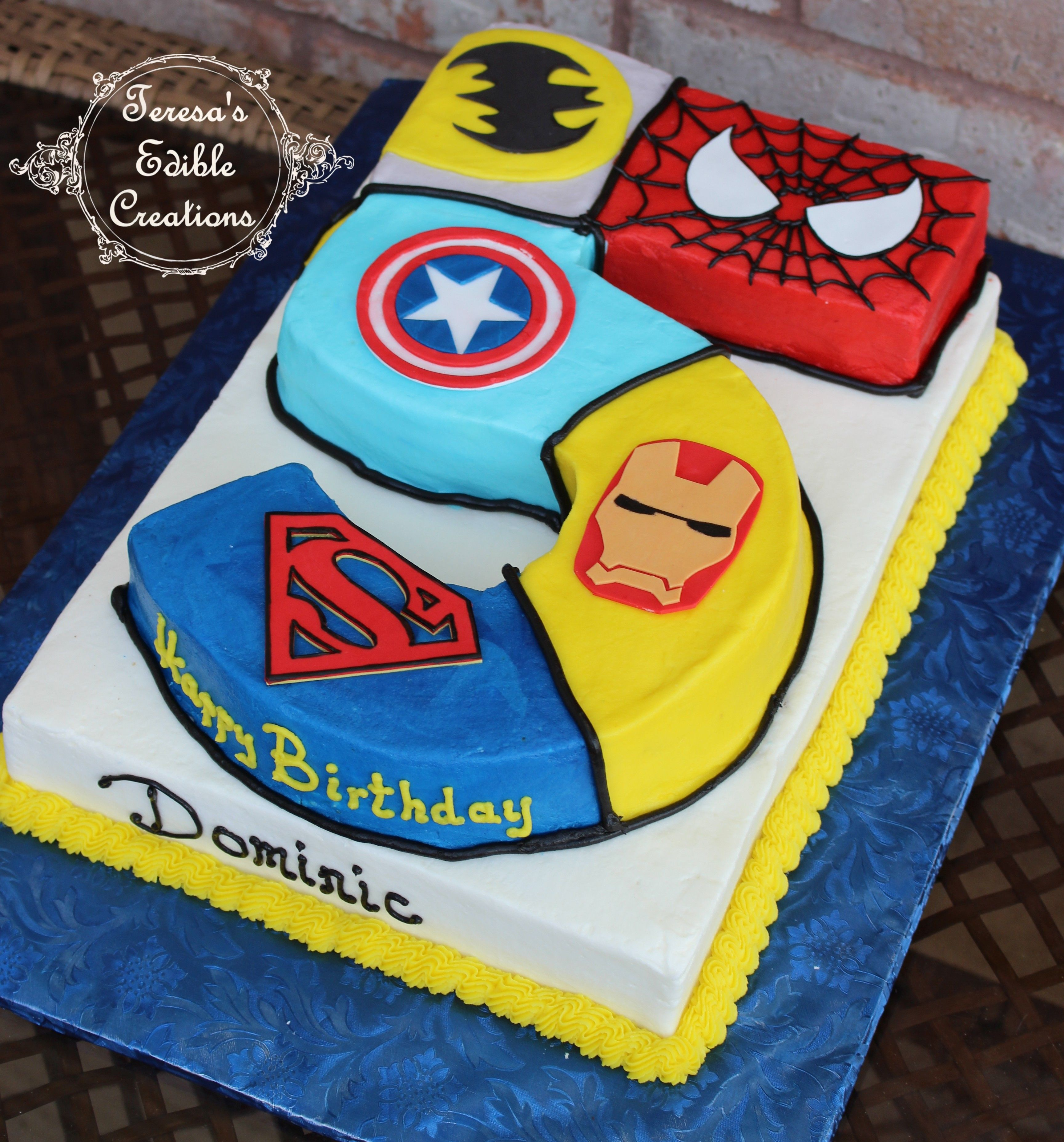 Favorite Superheroes On A Number 5 Shaped Cake