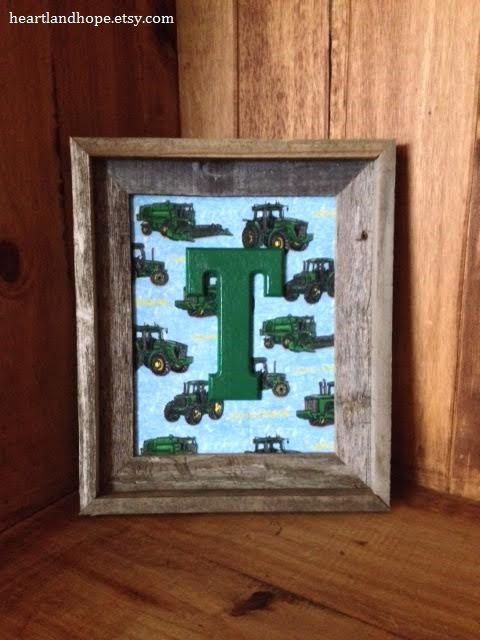 Lil Farmer John Deere Tractor Fabric Art 8x10 By Heartlandhope