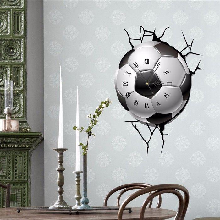 PAG STICKER 3D Wall Clock Decals Soccer Football Cracking Wall ...