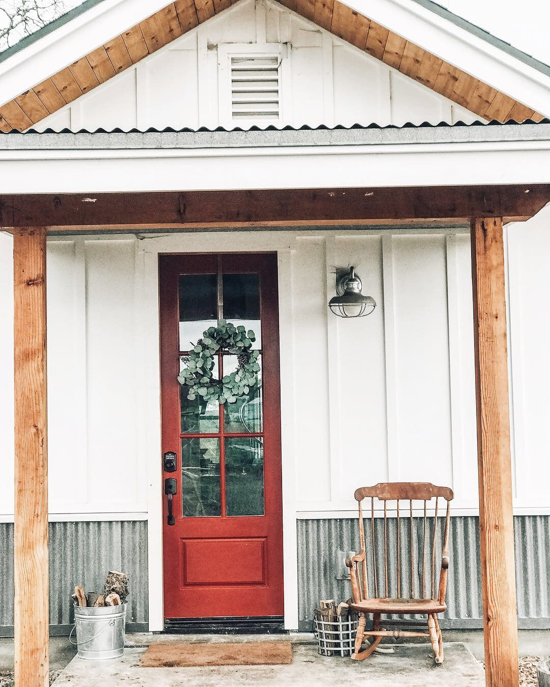 Red Front Door Modern Farmhouse Exterior Farmhouse Exterior Colors White Farmhouse Exterior