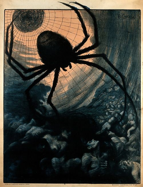 A giant spider, representing tuberculosis, catches crowds of humans in its web. Poster detail. Color Lithograph 1920  Croce rossa italiana. and Basilio Cascella  Wellcome Library, London