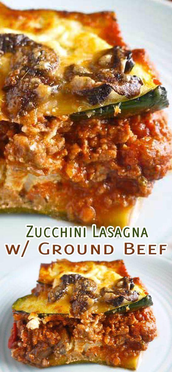 Zucchini Lasagna With Ground Beef In 2020 Ground Beef Recipes Healthy Healthy Beef Recipes Dinner With Ground Beef
