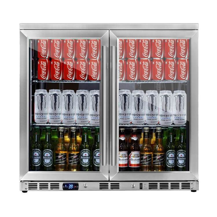36 Inch Heating Glass 2 Door Built In Beverage Fridge Beverage Cooler Beverage Fridge Beverage Refrigerator