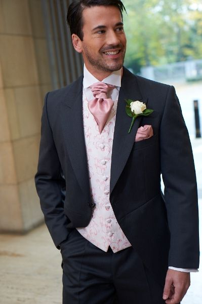 Black Tux Pink Tie Wedding Suits Groom And Groomsmen Attire Groom Attire