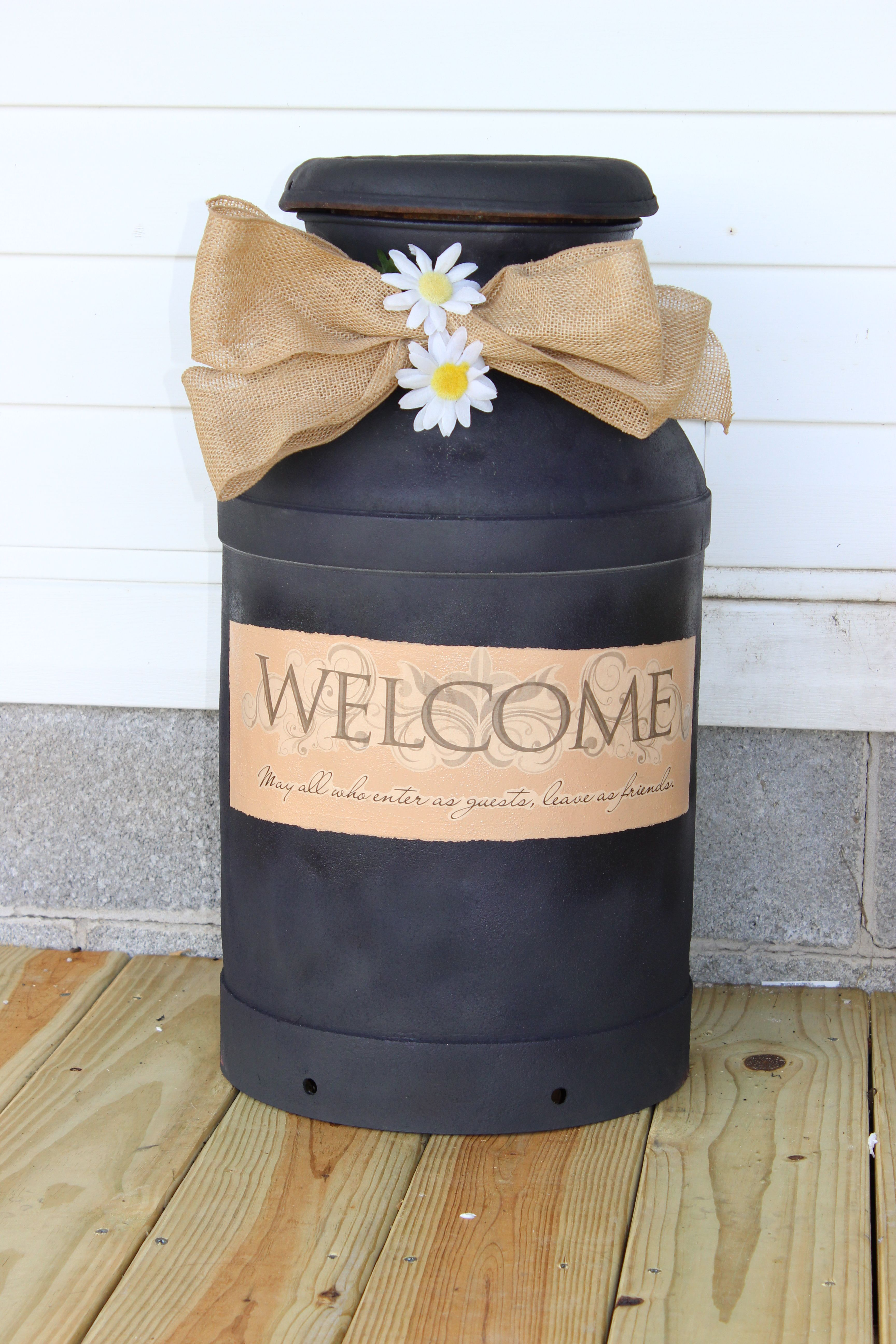 Transformed An Old Rusty Milk Can From The Garage Into A Plant Stand For The Front Porch Just Removed All The R Old Milk Cans Milk Can Decor Painted Milk Cans