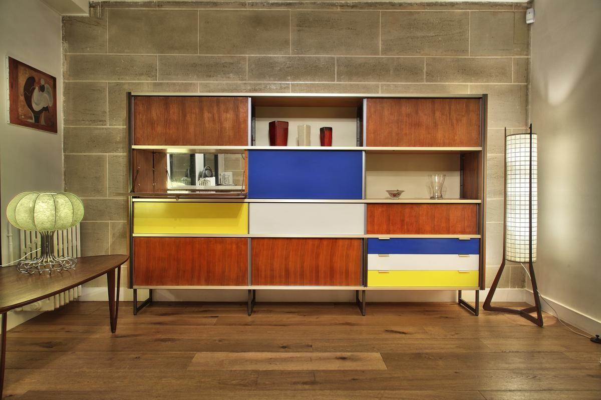 Meuble De Rangement Design Georges Frydman 1955 Galerie Atena Proantic Meuble Rangement Meuble Mural Mobilier De Salon