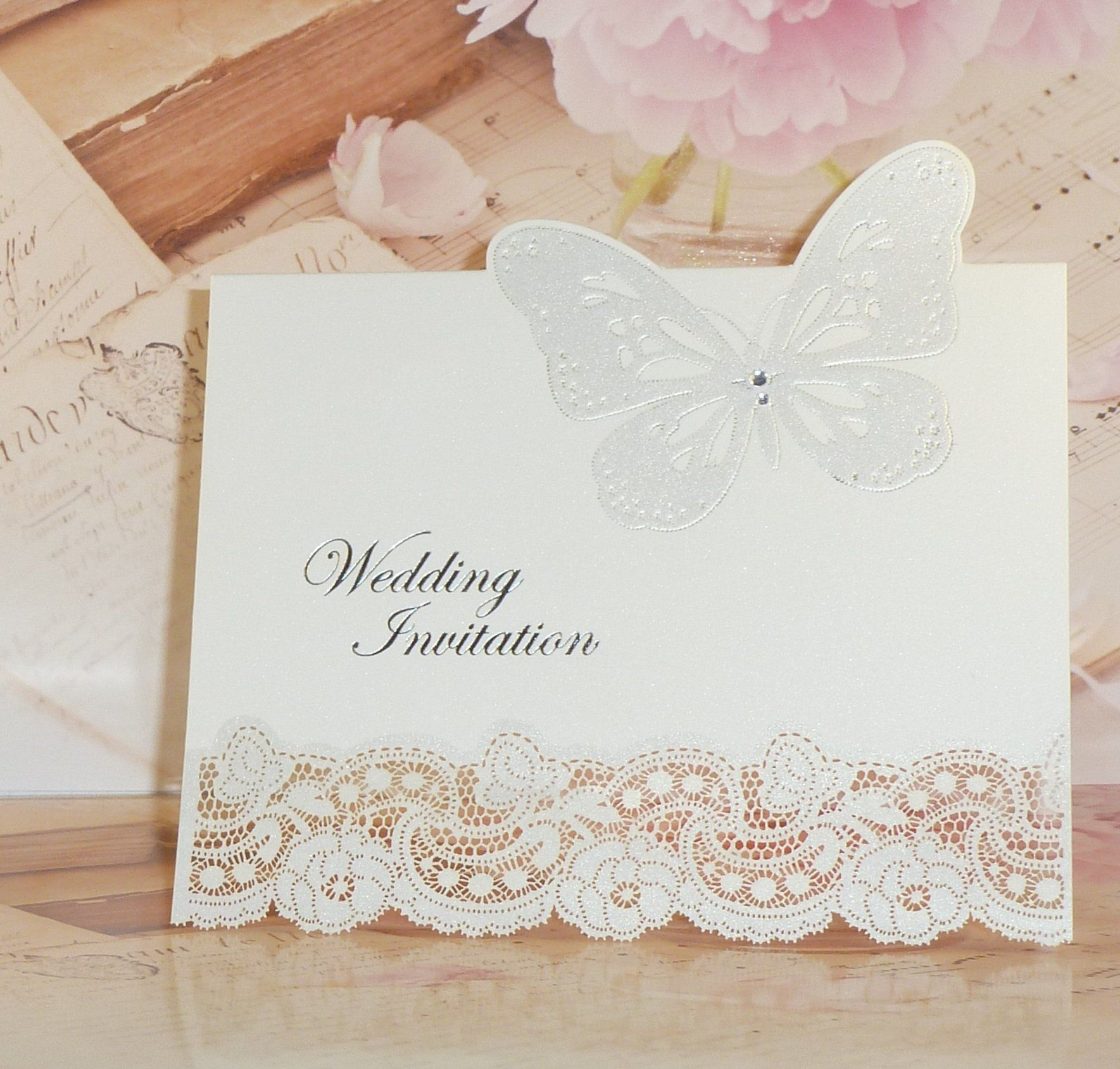 Laser Cut 3D Diamante Butterfly DIY Pearlescent Vintage Wedding ...