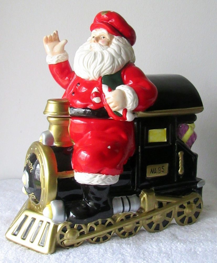 Vintage Neiman Marcus Santa Claus On Train Christmas Cookie Jar Very