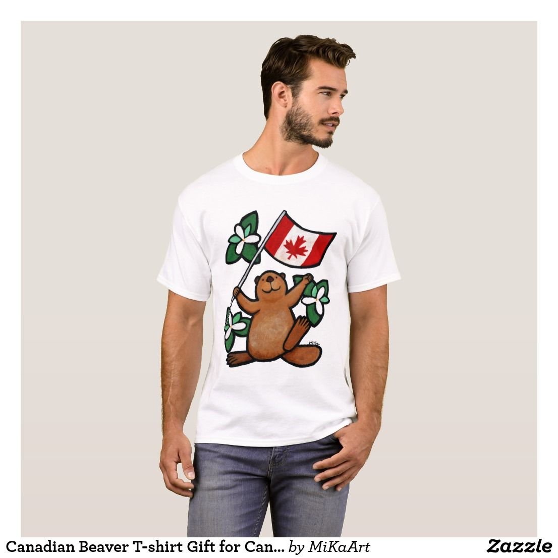 Canadian beaver tshirt gift for canadian canada zazzle