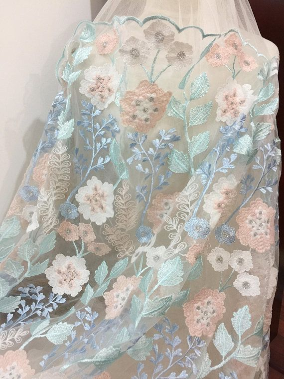 Lace Fabric Bridal Flower Floral Embroidered Deep Nude