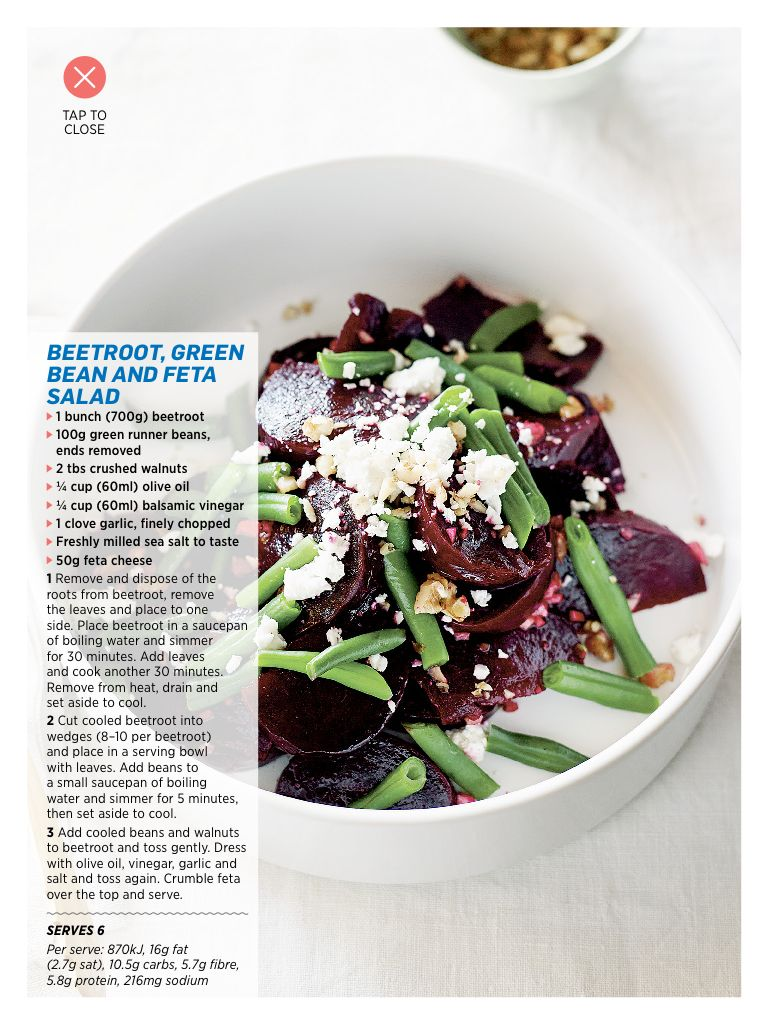 Beetroot green bean and feta salad | 210 cal | Women's health September 2013