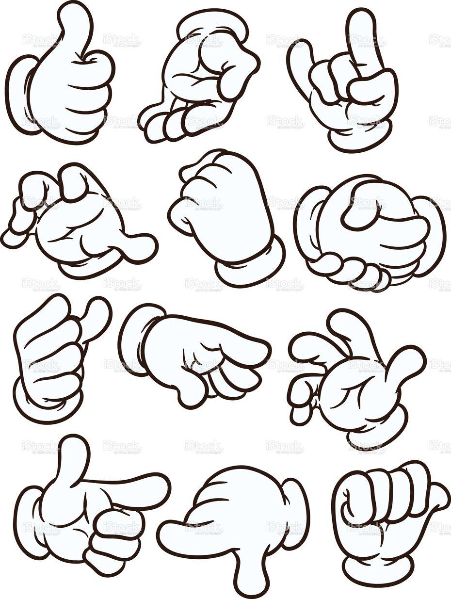 Cartoon Hands Making Different Gestures Vector Clip Art
