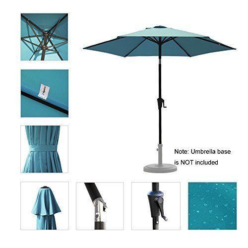 Patio Umbrella Aluminum Pole Outdoor Polyester Canopy Crank System Light  Blue