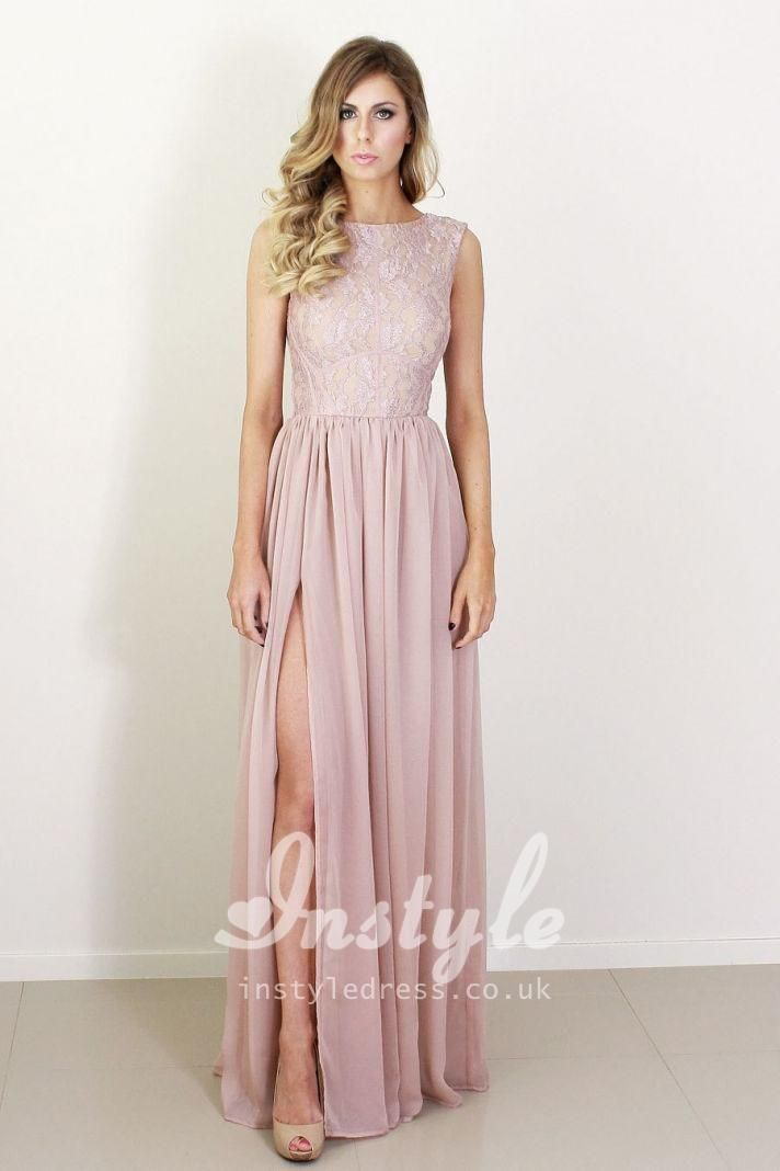 4d6f2922550 This blush pink long evening formal dress has the lace bodice forming boat  neckline and sleeveless slim fitting bodice