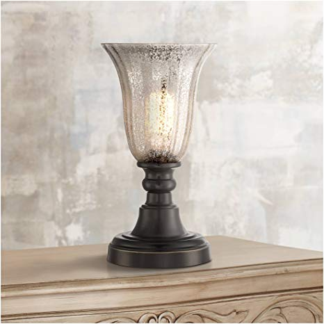 Isaac Traditional Uplight Desk Table Lamp 13 High Dark Bronze Mercury Glass Shade For Bedroom Bedside Nightstand Office R Mercury Glass Lamp Table Lamp Lamp