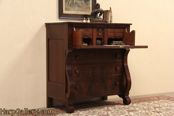 Empire Mahogany 1835 Antique Butler Pull Out Desk & Chest - Harp Gallery  Antique Furniture - Empire Mahogany 1835 Antique Butler Pull Out Desk & Chest - Harp