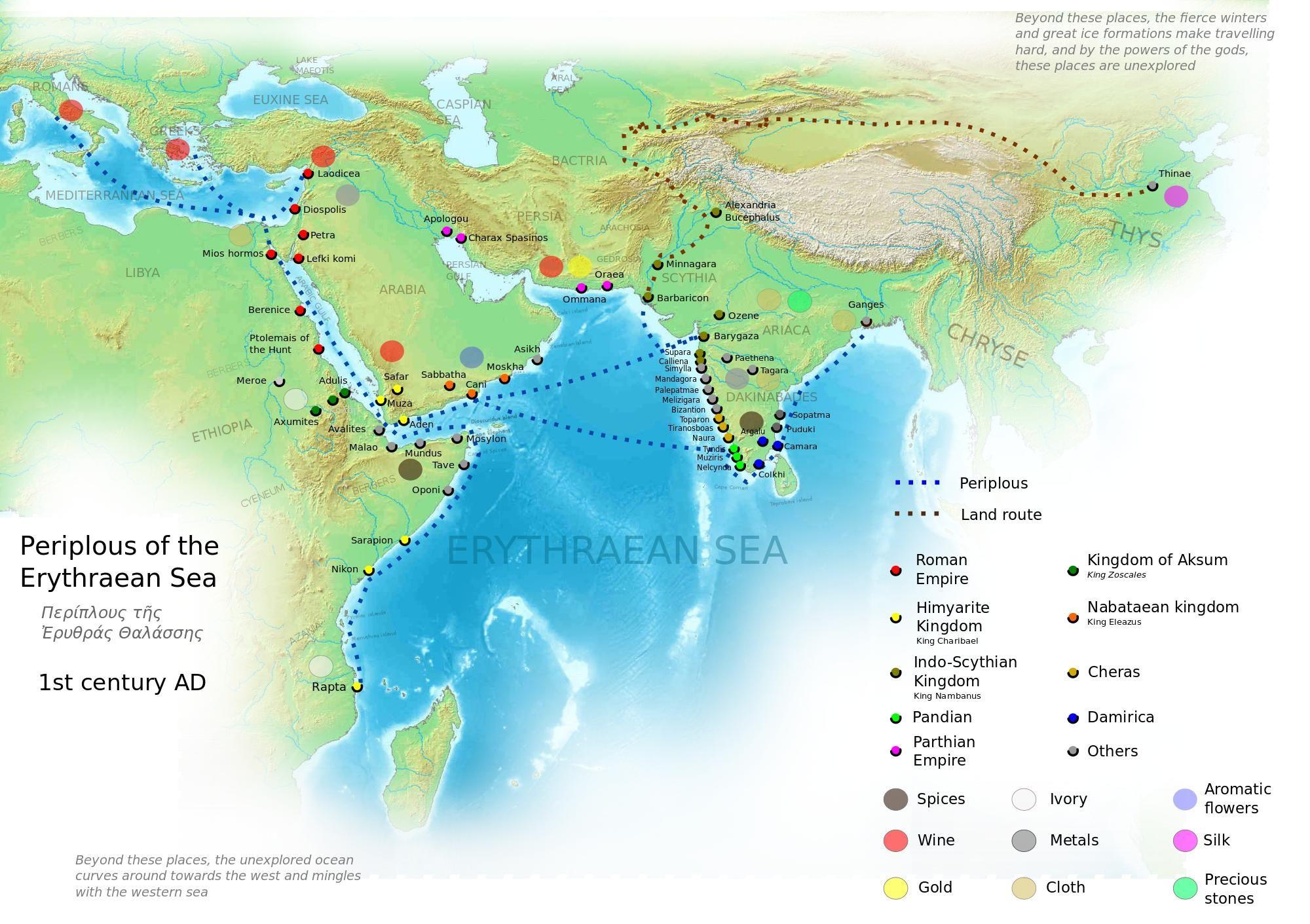 Periplous of the erythraean sea roman province history map