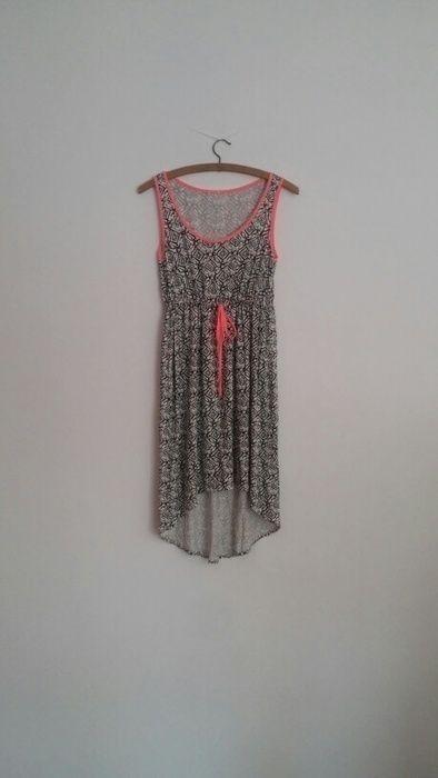 e8f656a027ebd1 Asymetryczna letnia sukienka przód krótszy w azteckie wzory ...