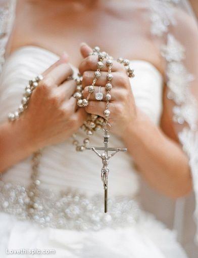 Bride Holding Rosary Photography Wedding Jewelry Jesus Gold Faith Cross