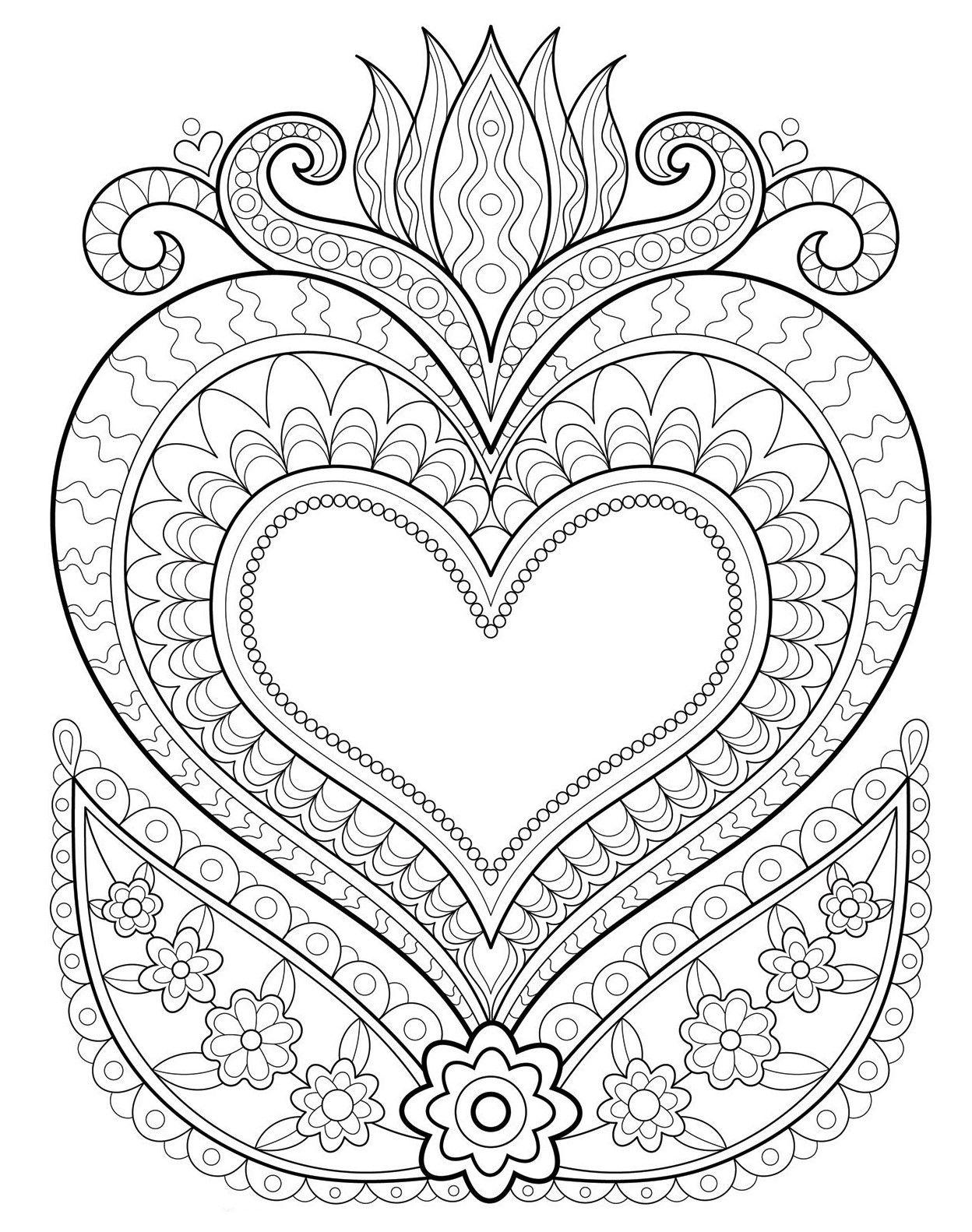 Раскраски «Сердца»  «Сердце в огне»  muster malvorlagen