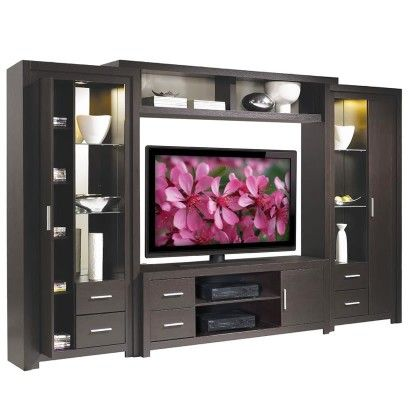Charming Chrystie Entertainment Center   Interior Lights, Glass Shelves, Storage