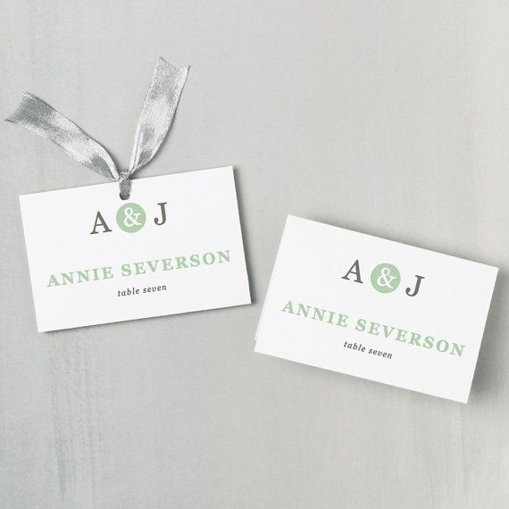 Printable Place Card Template | INSTANT DOWNLOAD | Mint Type Escort ...