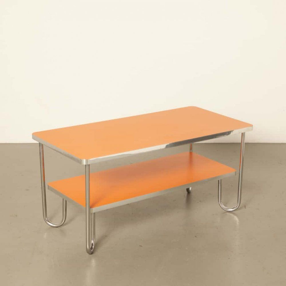 For Sale Modern Bauhaus Style Coffee Table In Orange