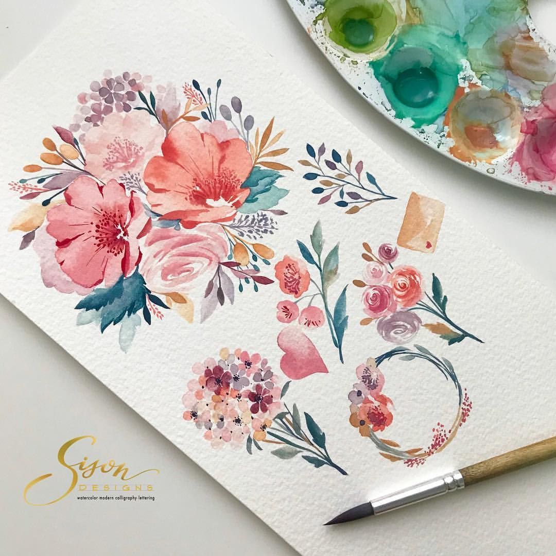Soft And Calm Palette For This Watercolor Floral Elements By Sison
