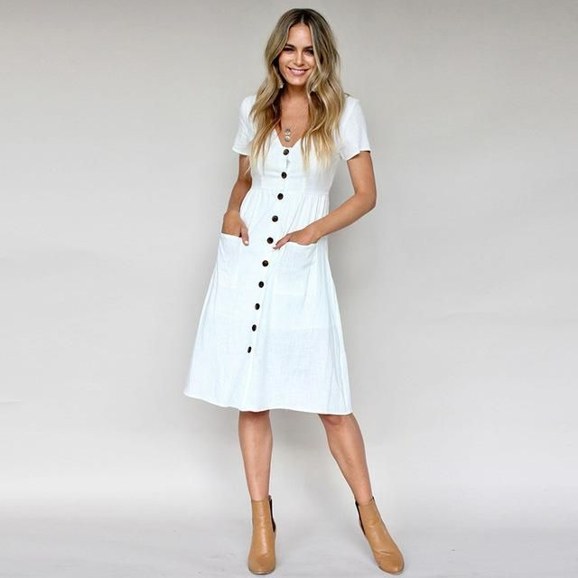 40896140dbf Women Casual A Line Dress V Neck Solid Polyester Summer Dresses For Women  Knee Length Dress Pockets Beach Dress For Women