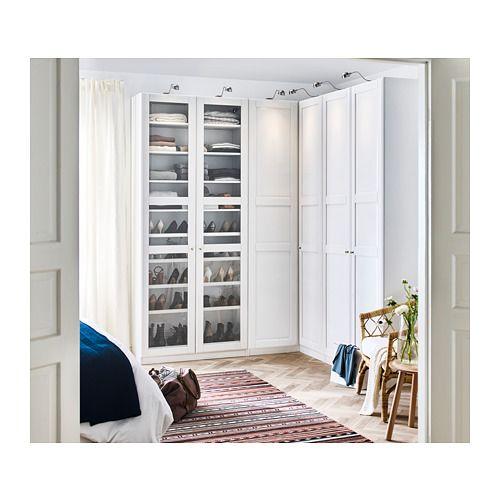 Bedroom Curtains Ikea Uk 4 Bedroom Apartment Layout Bedroom Design With Carpet Blue Victorian Bedroom: PAX Corner Wardrobe, White Tyssedal, Tyssedal Glass
