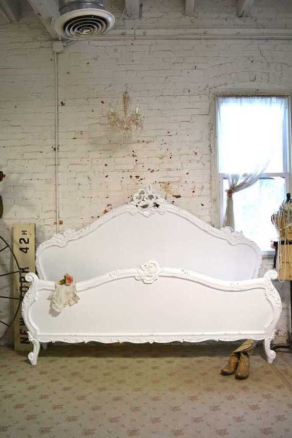 Painted Cottage Shabby French Romantic Bed   The Painted Cottage  Vintage  Painted Furniture. Painted Cottage Shabby French Romantic Bed KING  BD708