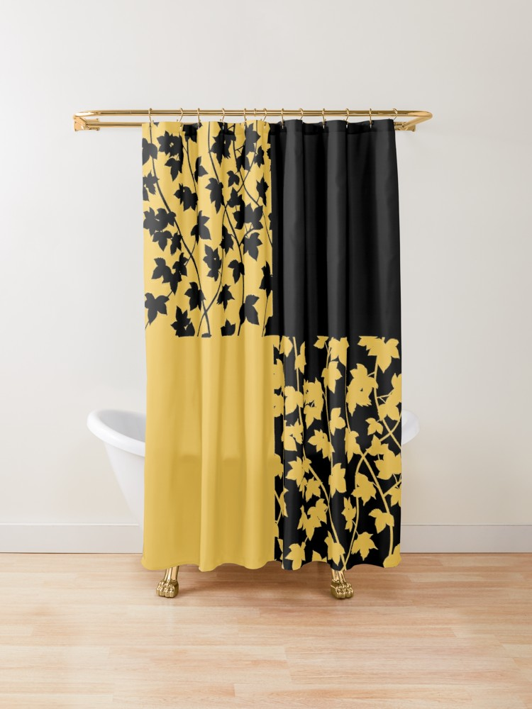 Black And Mustard Yellow Leaf Vines Chequered Pattern Shower