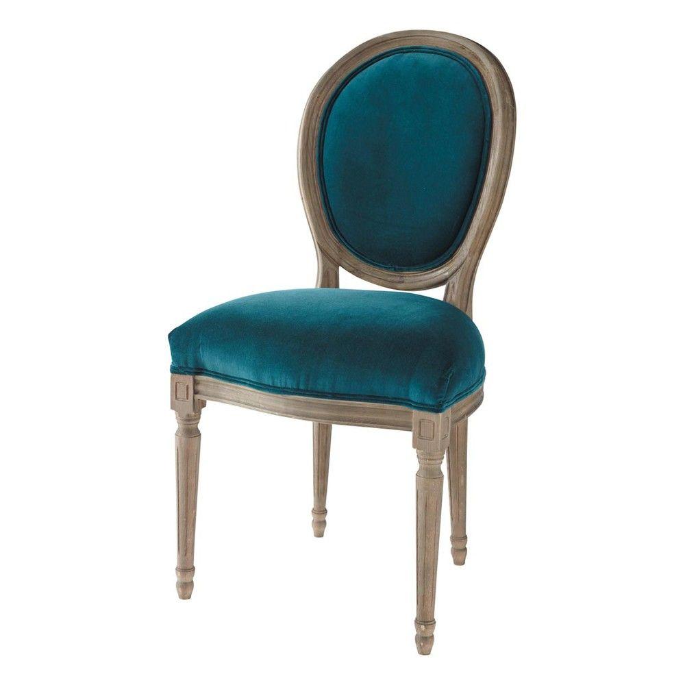 Chaise médaillon en velours et chêne massif bleu canard | Dining ...