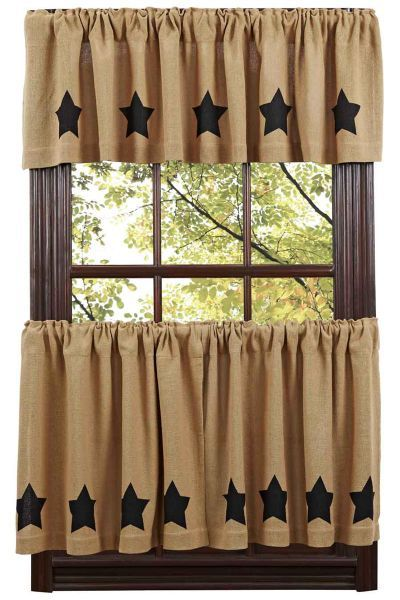 Burlap Black Star Tier Curtains                              …