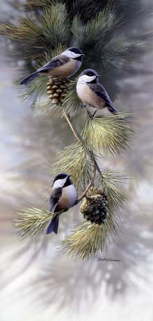 Chickadees' Early Morning Meeting by Bradley Jackson, wildlife artist