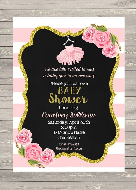 Tutu Girl gold Glitter Baby Shower Invitations by noteablechic