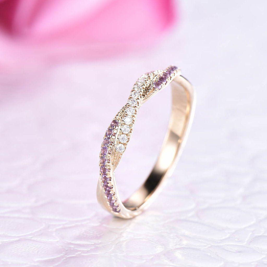 Amethyst diamond wedding band half eternity anniversary
