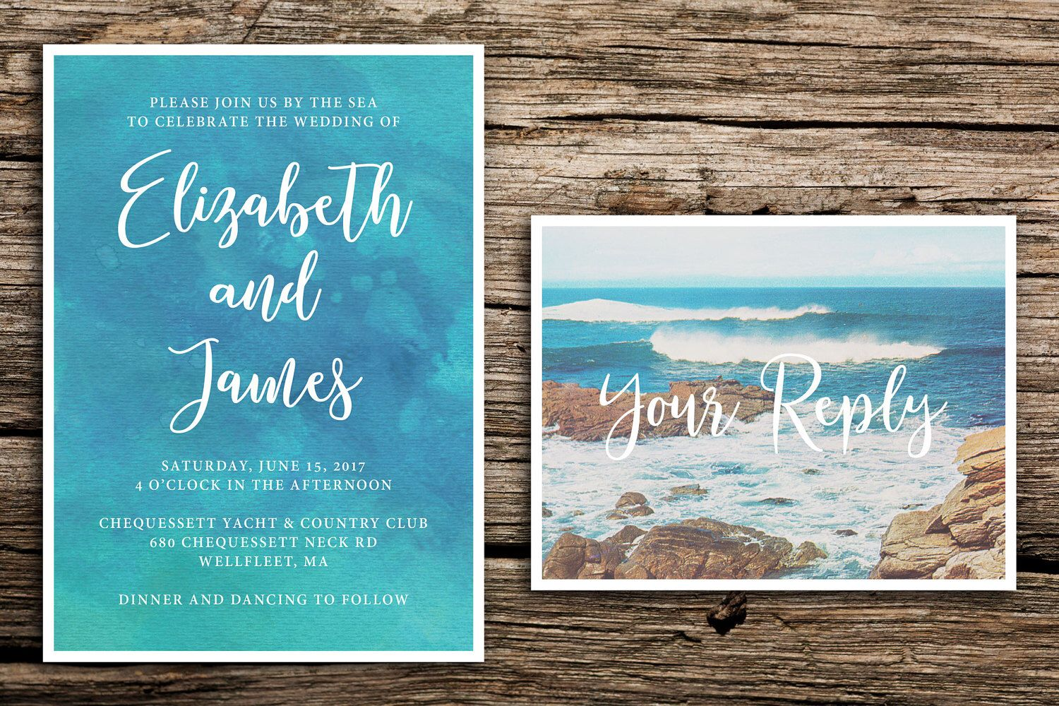 By the Sea Wedding Invitation Set // Beach Wedding Invitations ...
