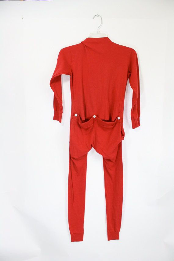 vintage Christmas red kids drop seat long johns long underwear 10 ...