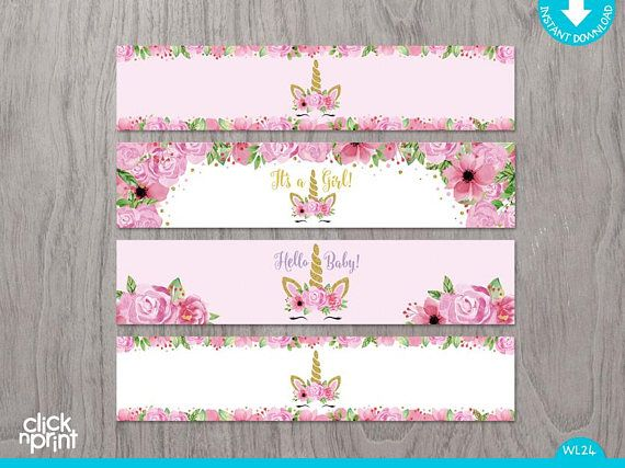 Unicorn And Flowers Pink And Gold Baby Shower Print Yourself Water