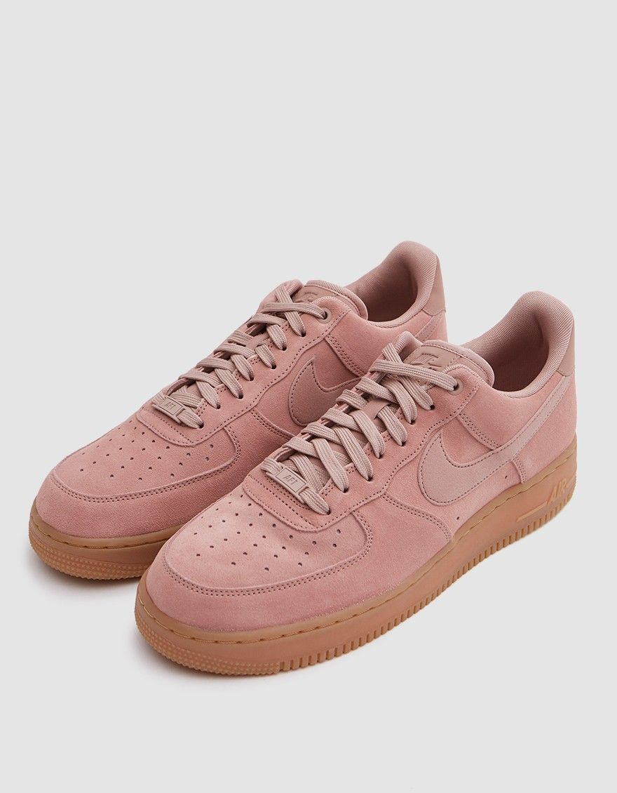 designer fashion f186d 12bb4 Air Force 1  07 LV8 from Nike in Particle Pink. Suede upper. Lace-up front  with flat woven laces. Lightly padded tongue and collar. Perforated toe box.