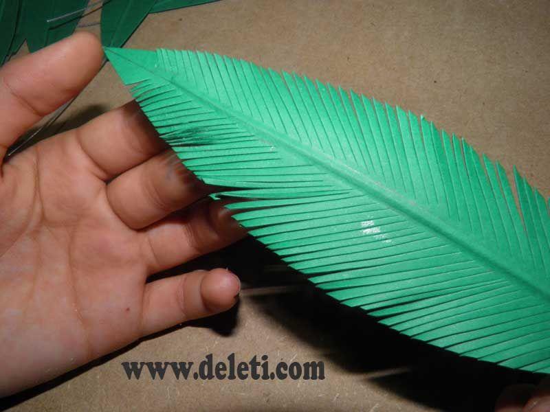 How to make a paper palm c mo hacer una palmera de papel - Como hacer una palmera artificial ...