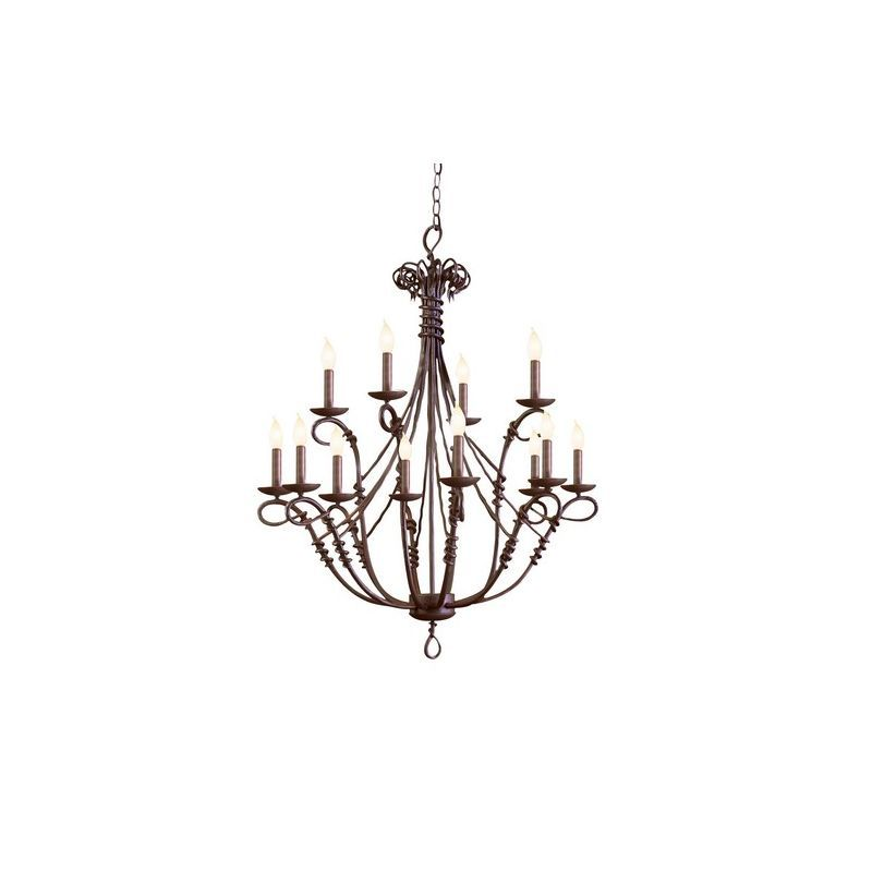 Kalco 3493 Vine 12 Light 2 Tier Chandelier Bark Indoor Lighting Chandeliers