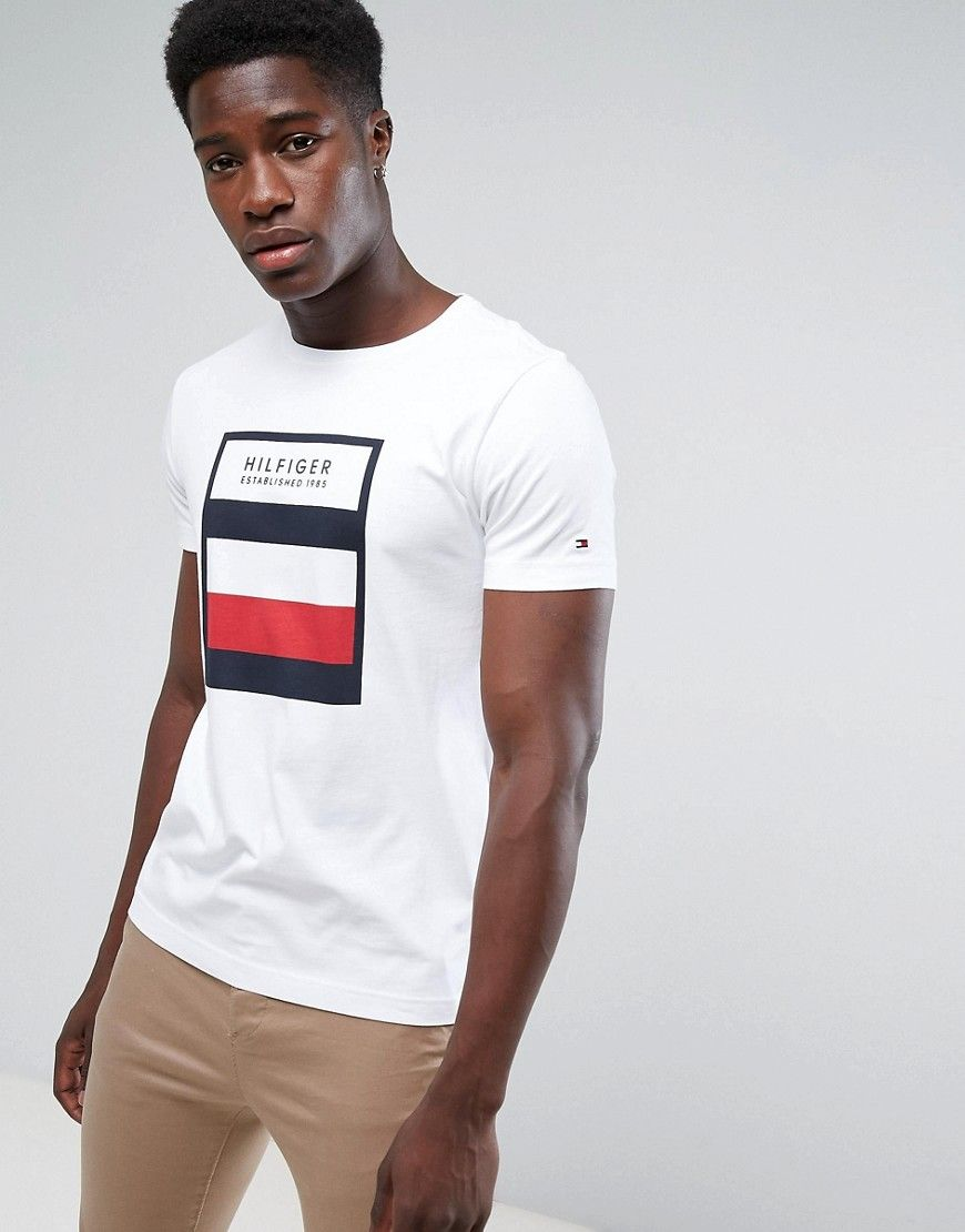 719a65fe0 TOMMY HILFIGER NORMAN T-SHIRT WITH BOX PRINT IN WHITE - WHITE.   tommyhilfiger  cloth